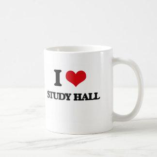 Amo la sala de estudio taza básica blanca