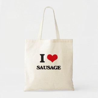 Amo la salchicha bolsas de mano