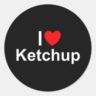 Amo la salsa de tomate (del corazón) pegatina redonda
