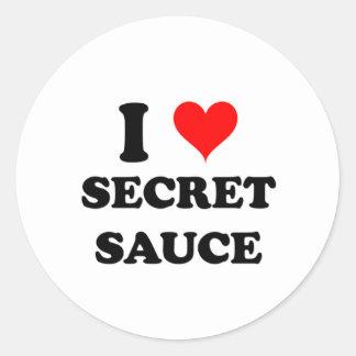 Amo la salsa secreta etiquetas redondas