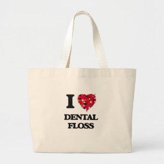 Amo la seda dental bolsa tela grande