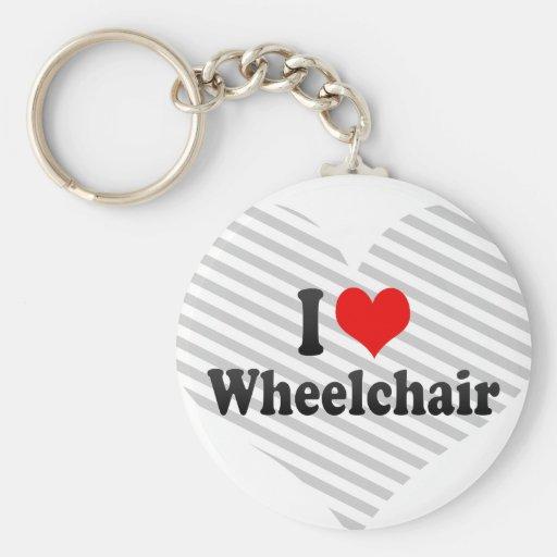 Amo la silla de ruedas llavero redondo tipo pin
