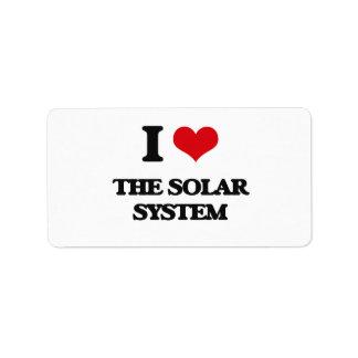 Amo la Sistema Solar Etiquetas De Dirección