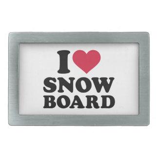 Amo la snowboard hebillas de cinturón rectangulares