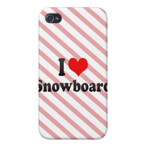 Amo la snowboard iPhone 4 funda