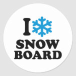 Amo la snowboard pegatina redonda