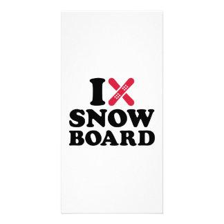 Amo la snowboard tarjetas con fotos personalizadas