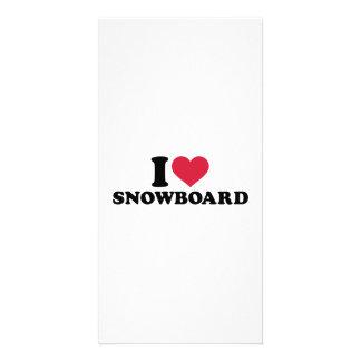 Amo la snowboard tarjetas fotográficas