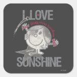 Amo la sol pegatinas cuadradases personalizadas