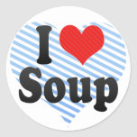 Amo la sopa pegatina redonda