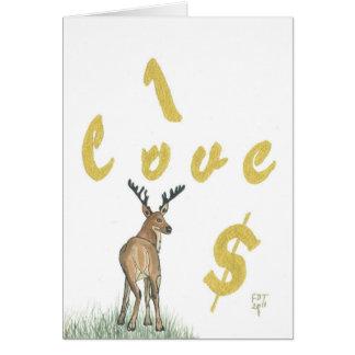Amo la tarjeta de felicitación de los ciervos del