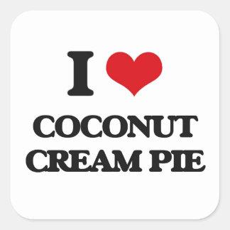 Amo la tarta de crema del coco pegatina cuadrada