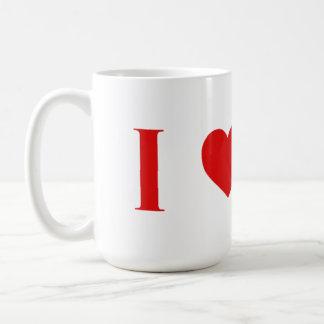 Amo la taza clásica -15oz. del café con leche de