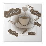Amo la taza de café azulejos