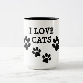Amo la taza de café del diseño de Pawprints de los