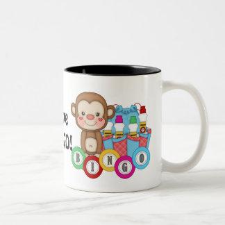 Amo la taza de café del mono del bingo