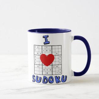 Amo la taza de café del rompecabezas de Sudoku del