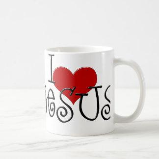 Amo la taza de la taza de café de Jesús