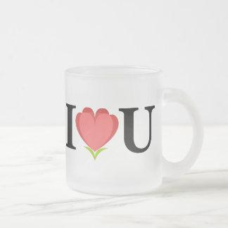 Amo la taza del vidrio esmerilado de U