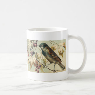 Amo la taza ilustrada vintage de los pájaros
