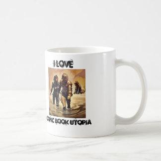 Amo la taza retra de tres blancos de Utopía del