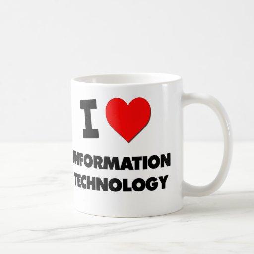 Amo la tecnología de la información tazas de café