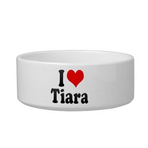 Amo la tiara tazón para comida gato