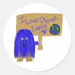 Amo la tierra del planeta etiquetas redondas