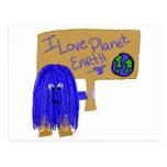Amo la tierra del planeta tarjeta postal