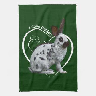 Amo la toalla de cocina de los conejos (verde oscu