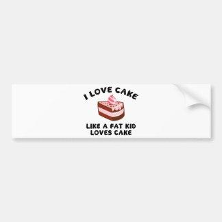 Amo la torta como una torta de los amores del niño pegatina para auto