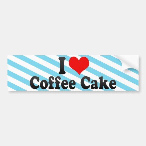 Amo la torta de café pegatina de parachoque