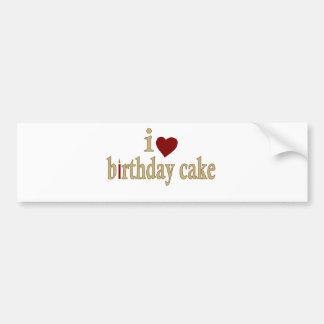 Amo la torta de cumpleaños pegatina para auto