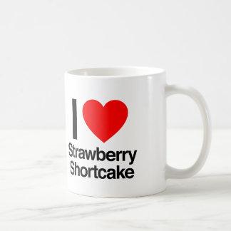 amo la torta de frutas de la fresa taza de café