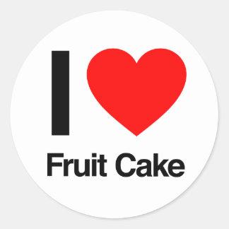 amo la torta de la fruta pegatina redonda