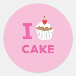 Amo la torta pegatina redonda