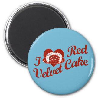 Amo la torta roja del terciopelo imán redondo 5 cm