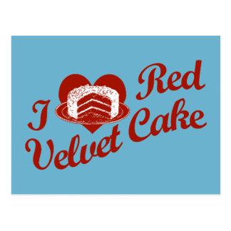 Amo la torta roja del terciopelo tarjetas postales