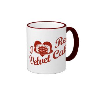 Amo la torta roja del terciopelo tazas