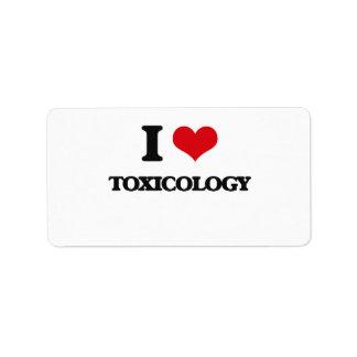 Amo la toxicología etiquetas de dirección