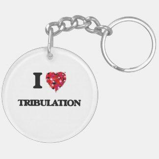 Amo la tribulación llavero redondo acrílico a doble cara