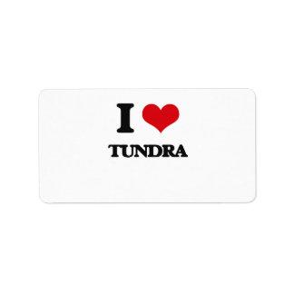 Amo la tundra etiqueta de dirección