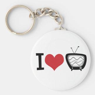 Amo la TV Llavero Redondo Tipo Pin