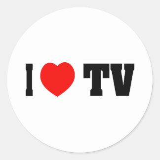 Amo la TV Pegatina Redonda