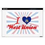 Amo la unión del oeste, Nueva York Calcomanías Para 38,1cm Portátiles