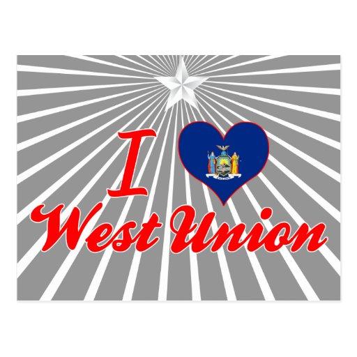 Amo la unión del oeste, Nueva York Tarjeta Postal