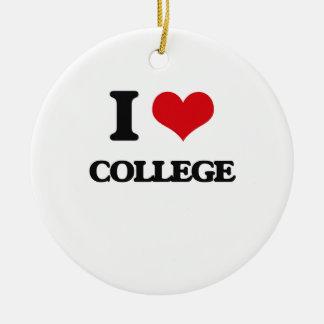 Amo la universidad adorno navideño redondo de cerámica
