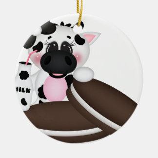 Amo la vaca de leche adorno navideño redondo de cerámica