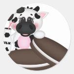 Amo la vaca de leche pegatina redonda