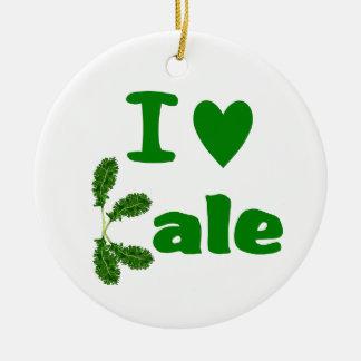 Amo la verdura/al jardinero de la col rizada (col adorno navideño redondo de cerámica
